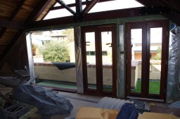 French doors in place
