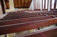 String line used to help get the joists level and create a straight line to measure the boards against