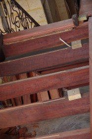 Joists at the top of the stairs ready to lay boards on