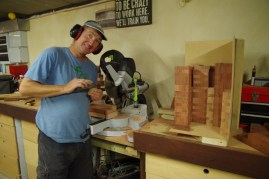 Cutting timber into 19mm slices - and sanding the edges of every piece