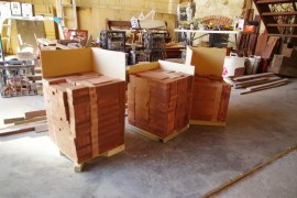 Stacks of timber 'tiles' ready to go