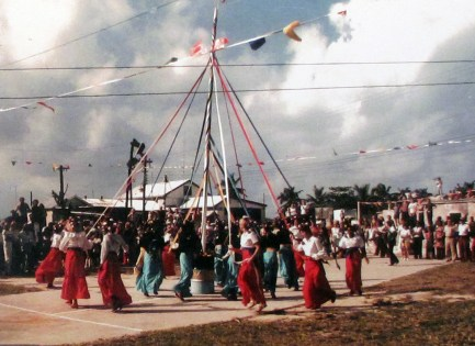 Key West and New Plymouth girls plait the Maypole