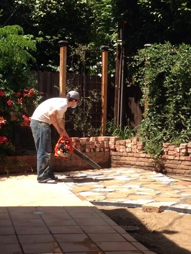 Gator Done Laying a Flagstone Patio  littlehousesbigdogs