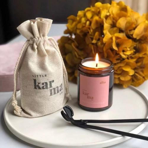 alba balancing bergamot rose geranium midi candle with midi cloth bag