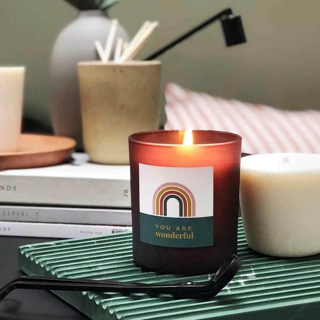 rainbow | personalised candle