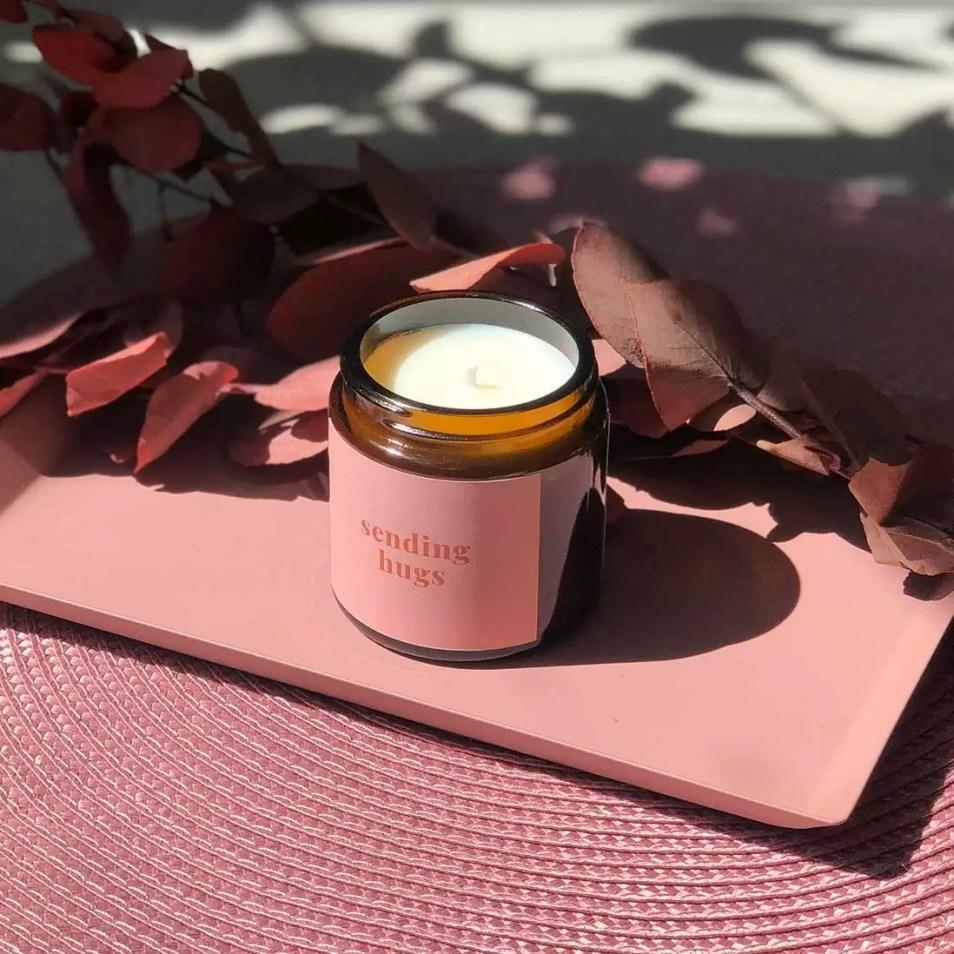 sending hugs personalised mini candle in pink