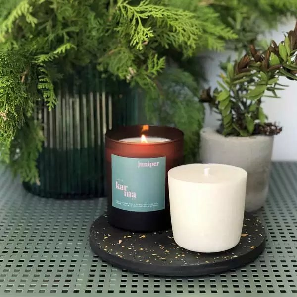 Juniper large refillable candle with large candle refill