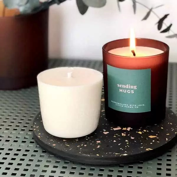 sending hugs personalised large candle in sage with large refill. Shop our collection of personalised refillable candles and gifts