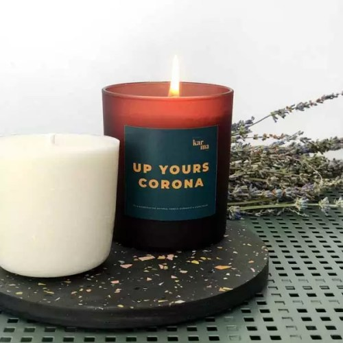 Little Karma Co. Ltd's collection of refillable candles and gifts. UP YOURS CORONA large refillable candle in green with large candle refill