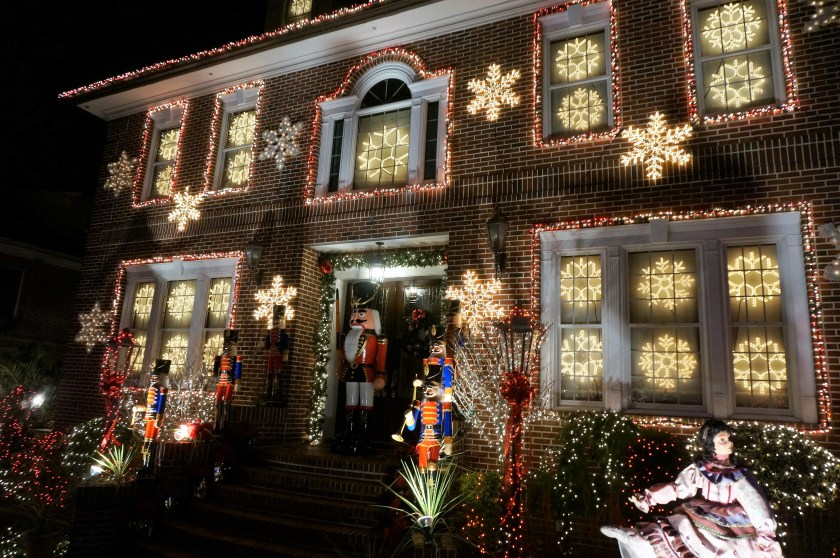 The beautiful snowflake house - part of the Amazing Christmas lights in Dyker Heights