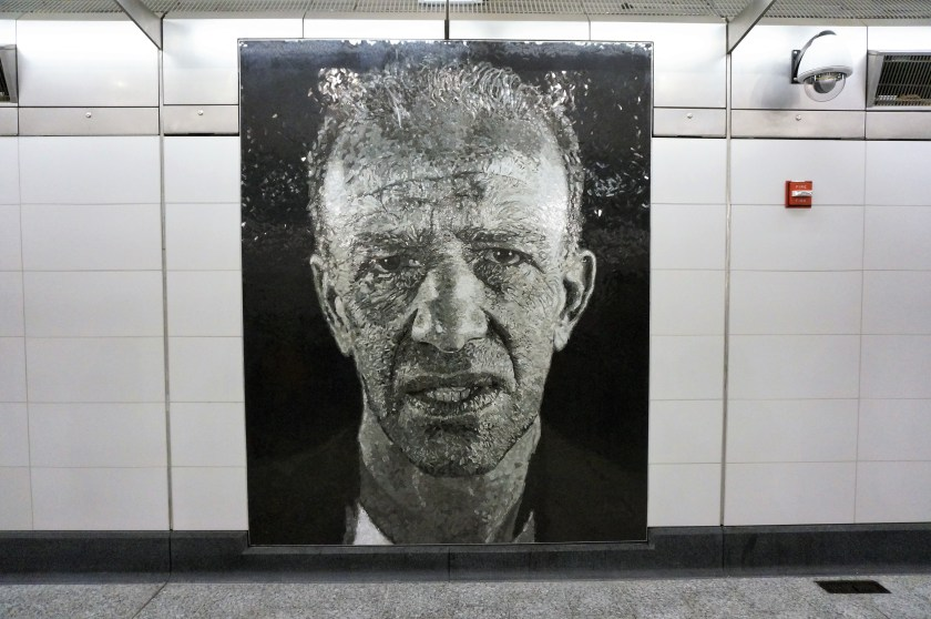 One of the murals by Chuck Close at the Second Ave Subway Opening