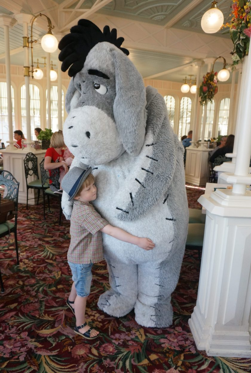 Eeyore gives the best hugs at the Character Breakfast