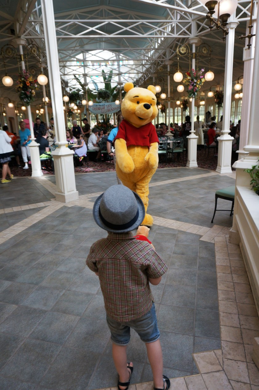 Saying hi to Winnie the Pooh at the Character Breakfast in the Crystal Palace