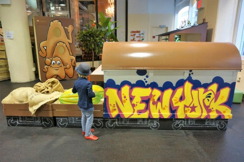 Graftti subway car at Choco-Story New York