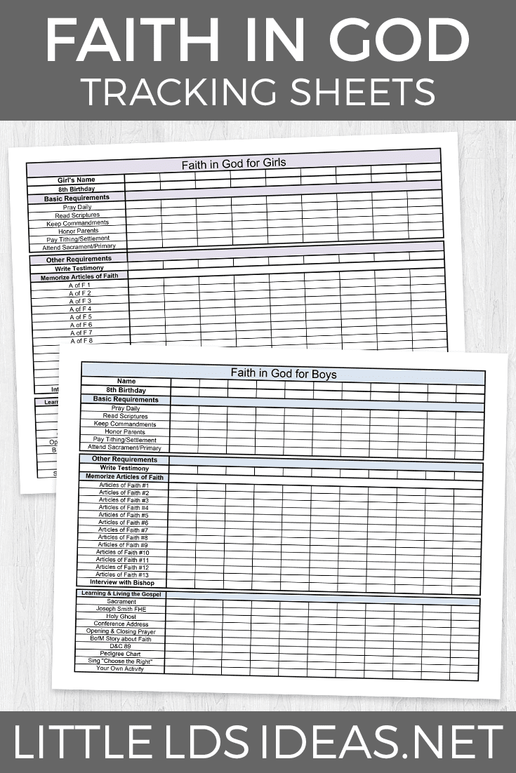 Faith in God Tracking Sheets