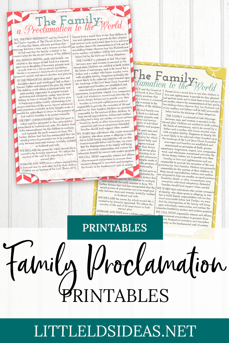 Family Proclamation Printable