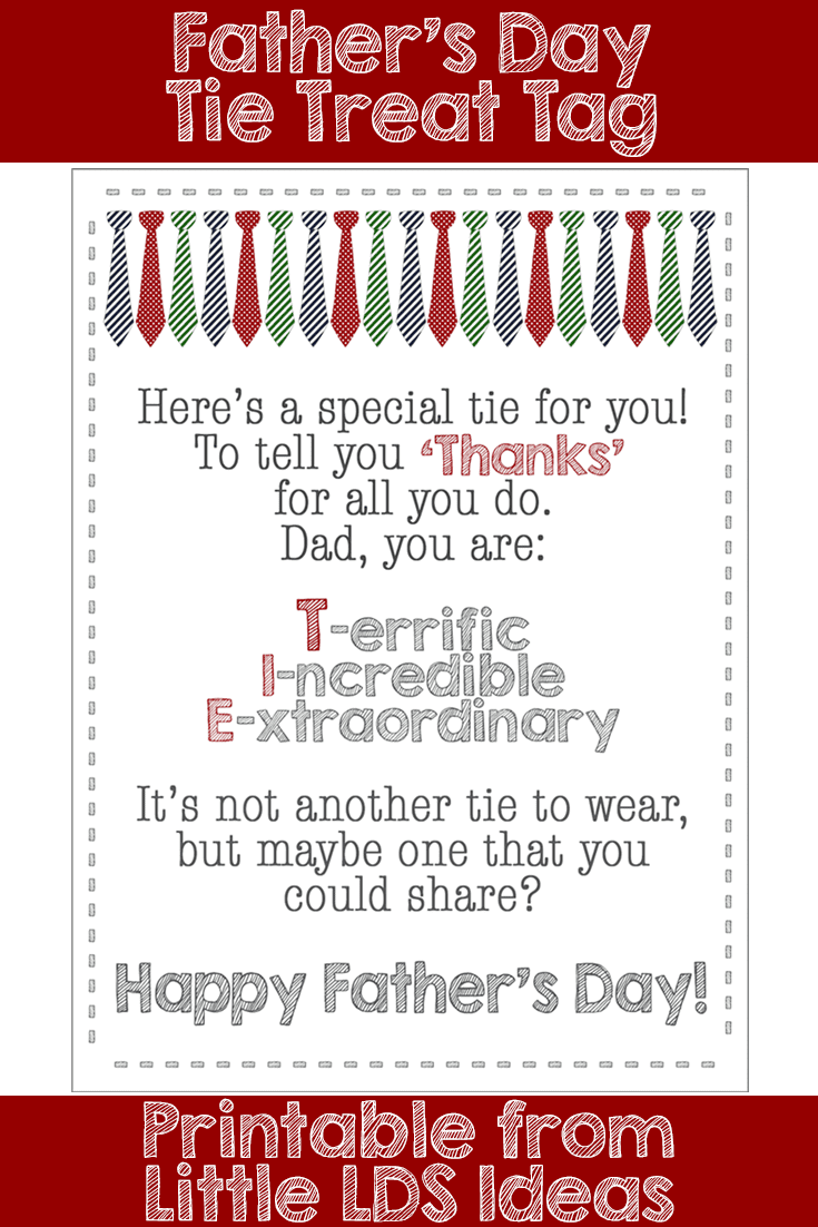 Father's Day Tie Treat poem