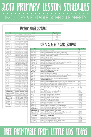 2017 Primary Lesson Schedule Sheets