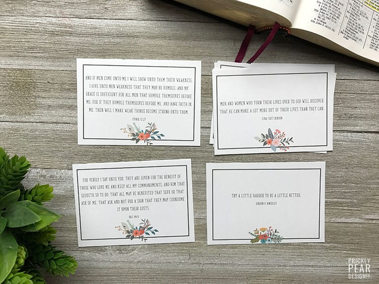 Filling Our Minds With Truth - LDS Scripture Cards | Little LDS Ideas | Prickly Pear Design Co. | LDS Printable | Young Women & Relief Society Printable