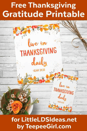 LDS Thanksgiving Printable