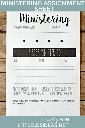 LDS Ministering Assignment Handout Printable