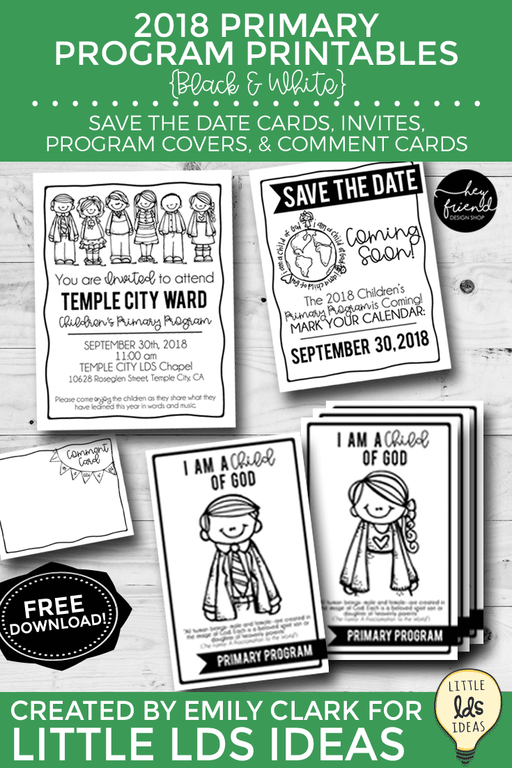 2018 Primary Program Printables. Black and White Printables for the Primary Program.