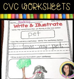 13 Free CVC Worksheets and Word Family Activities   Little Learning Corner [ 1008 x 1008 Pixel ]