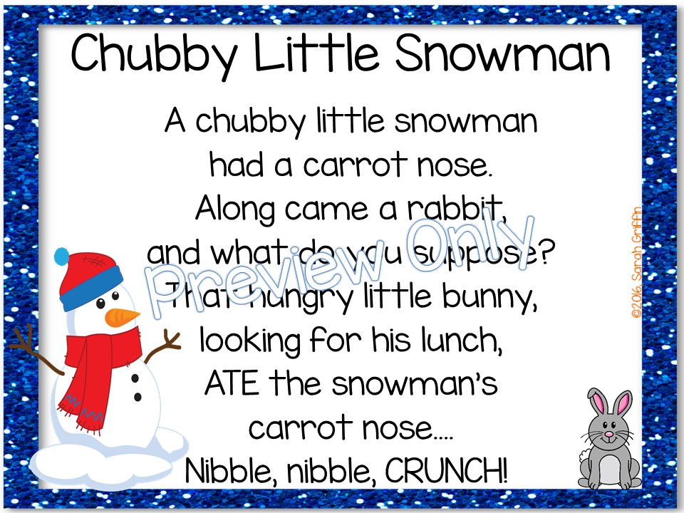 picture regarding Chubby Little Snowman Poem Printable named Overweight Minor Snowman Poem for Small children Tiny Understanding Corner