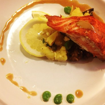 Seared salmon with mustard buerre blanc and fresh fava beans