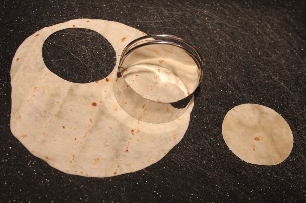 tortillas, tostadas, pastry cutter, circle, small