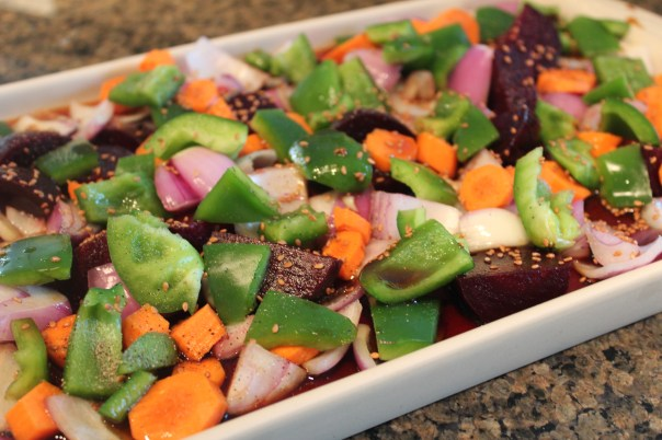 roasted vegetables, asian vegetables, beets, carrots, bell peppers, onions, honey, ginger, soy sauce, sesame seeds, recipe