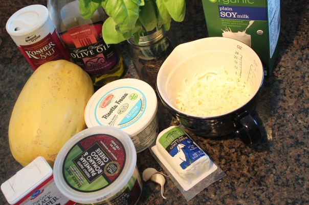 squash, parmesan cheese, goat cheese, mozzarella cheese, soy milk, basil, garlic, olive oil, ricotta