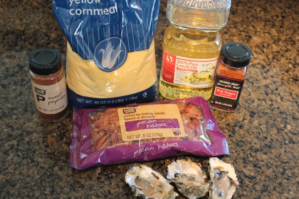 oysters, pecans, cornmeal, paprika, chili powder, canola oil, ingredients, recipe, fried oysters