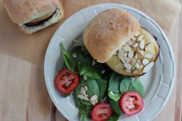 gouda cheeseburger, bond burger, toasted almond burger, mushroom burger, cheeseburger with focaccia bun, spinach salad, recipe, food
