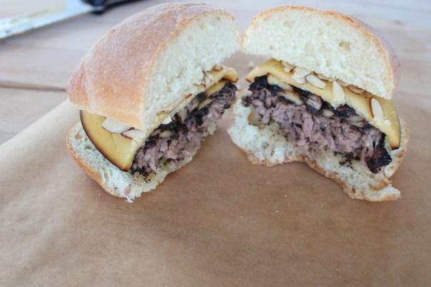 inside of cheeseburger, gouda cheeseburger, mushroom burger, coffee crusted burger, focaccia buns, recipe, food
