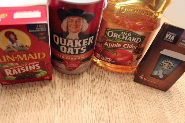 oats, raisins, apple cider, coffee