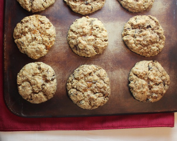 Oatmeal Raisin Coffee Cookies with Caramel Apple Filling