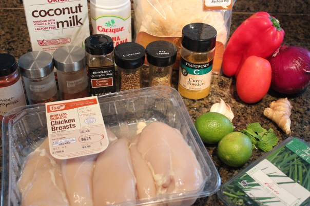 chicken, curry powder, red bell peppers, red onion, garlic, ginger, limes, chives