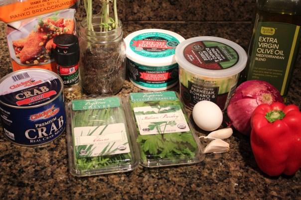ricotta, parsley, chives, garlic, crab, breadcrumbs