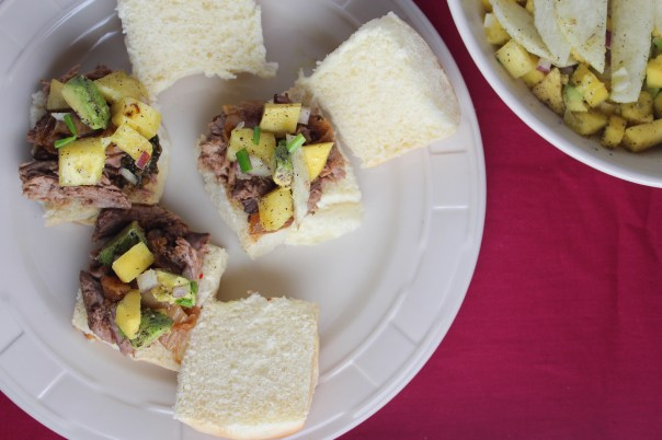 Pineapple Pulled Pork Sliders with Mango Avocado Salsa