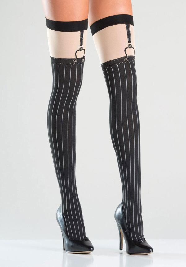 Opaque Faux Suspender Thigh Highs - Black-Nude With Pinstrip Design