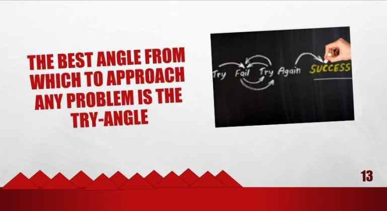 The best angle from which to approach any problem is the try-angle