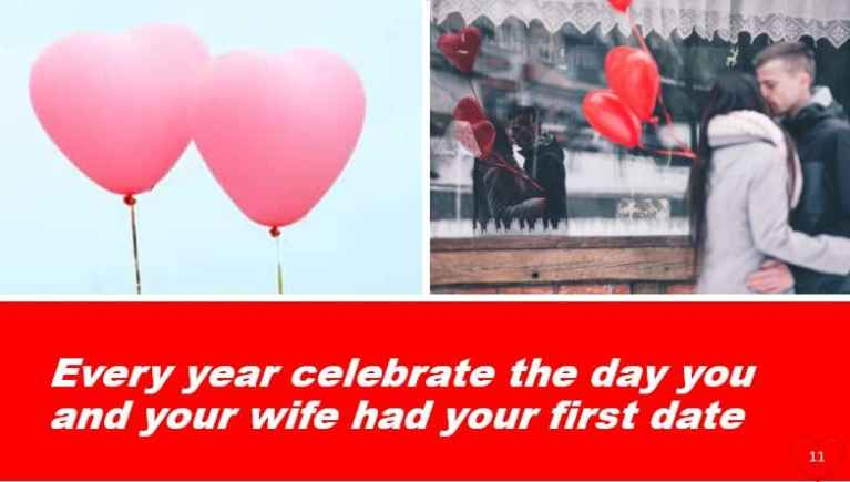 Every year celebrate the day you and your wife had your first date