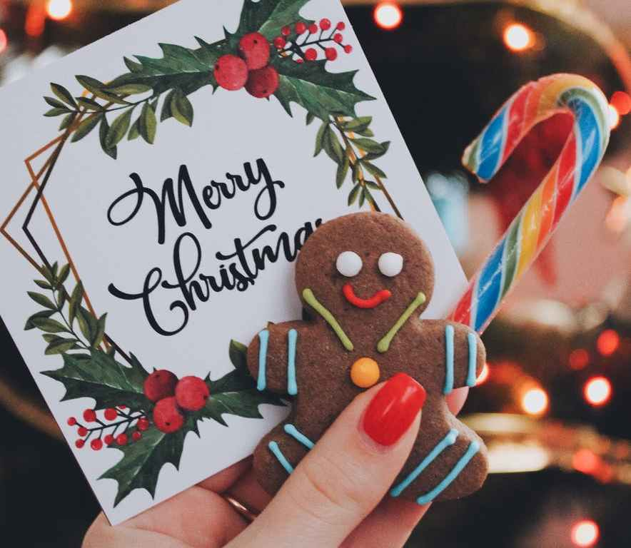 greeting card with candy cane
