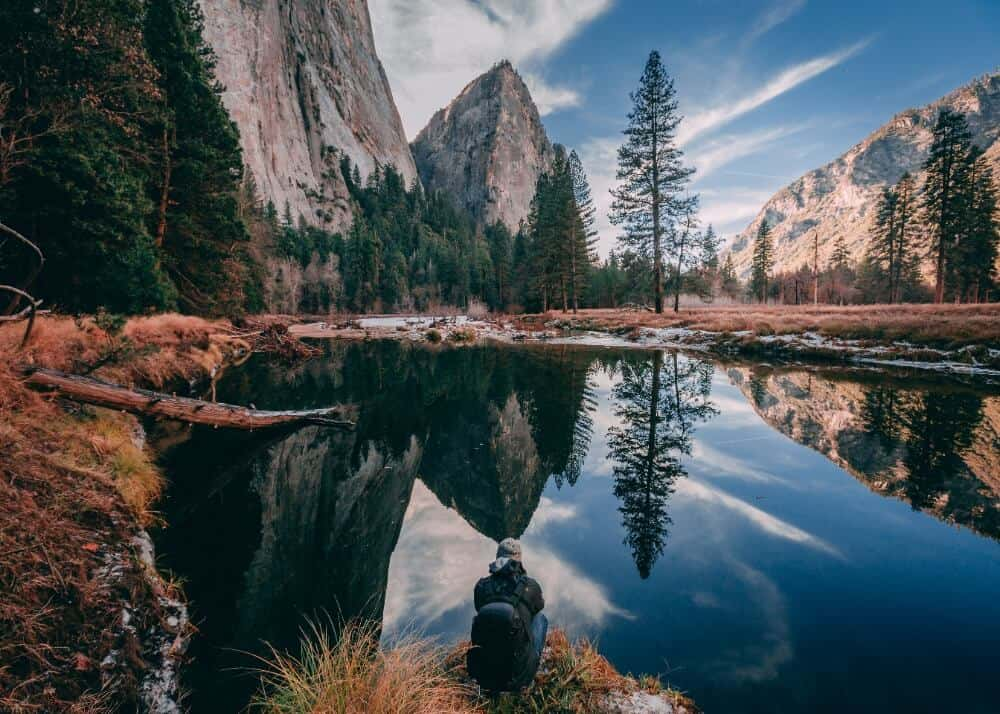 Backpackers at Yosemite National Park in US
