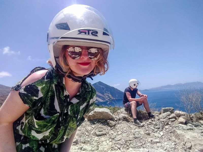 My partner and I wearing helmets in when we were travelling together in Greece.