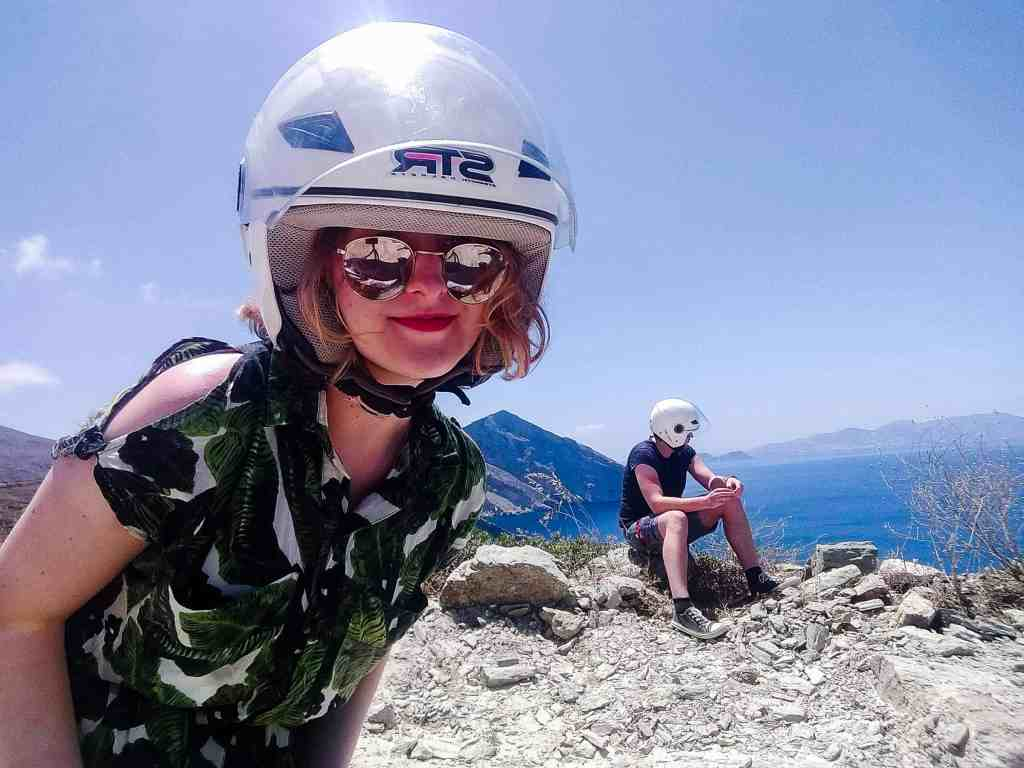 Girl wearing a helmet and looking at the camera