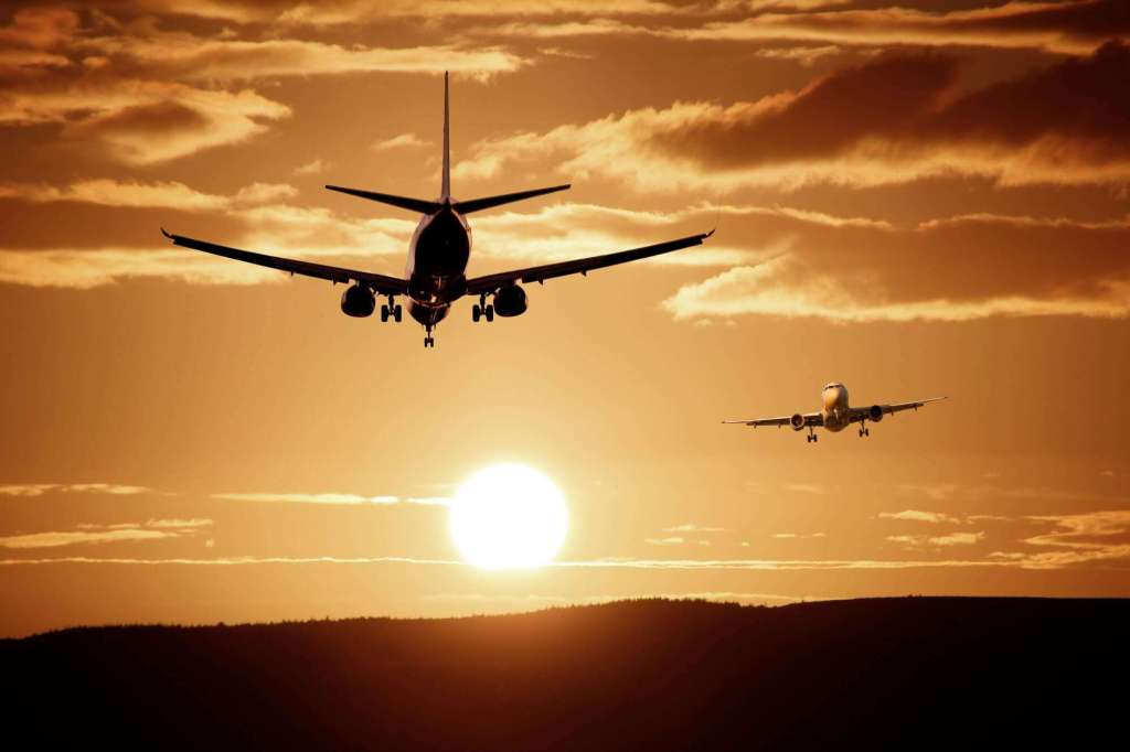 climate change and travel - two planes