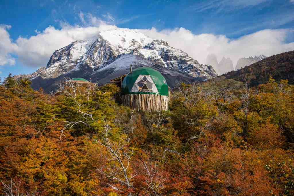 Picture of EcoCamp Patagonia with mountains behind