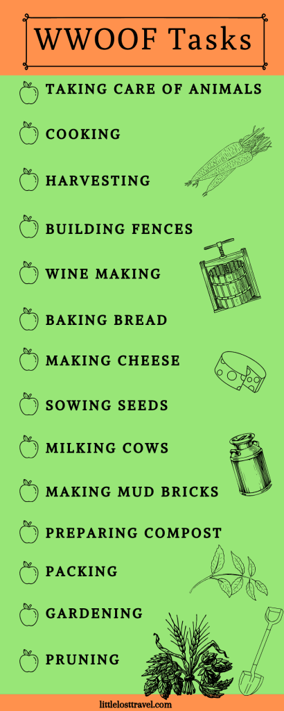 Infographic of tasks you can do on organic WWOOF farms.